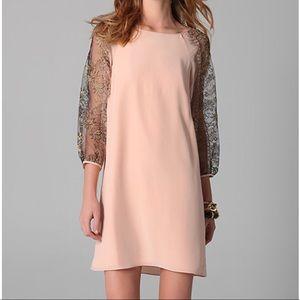 Tibi Blush Shift Dress with Lace
